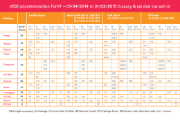 GTDC accommodation Tariff - 01/04/2014 to 31/03