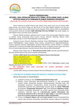 rusya federasyonu bitkisel gıda ürünleri ihracatçı firma listelerine