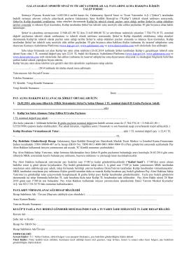 Pay Alımına İlişkin Talep Formu