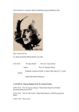 vefatının 40.yılında nihad sami banarlı sempozyumu, 18 kasım 2014