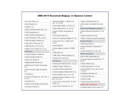 EBB 2014 Kurumsal Bağışçı ve Sponsor Listesi