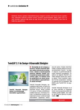 TwinCAT 3.1 ile Seviye 4 Kinematik Dönüşüm