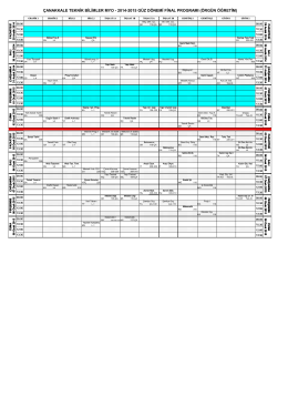 Örgün Öğretim Final Takvimi - Çanakkale Teknik Bilimler Meslek