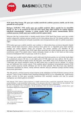 NGK Spark Plug Europe, OE egzoz gazı sıcaklık sensörlerini