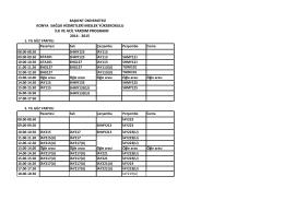 Ders Programları - Başkent Üniversitesi Konya Uygulama ve