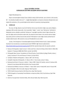 2014 totbid-totek uzmanlık eğitimi gelişim sınavı raporu