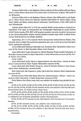 TBMM B : 70 2 9 . 4 . 1 9 9 2 0 : 1 Erzincan Milletvekili ve eski