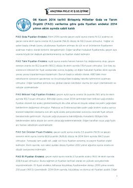 (FAO) yılının ekim ayında sa ekim ayında sa 6 Kasım 2014 tarihli