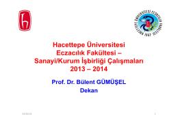 Hacettepe Üniversitesi Eczacılık Fakültesi – Sanayi/Kurum