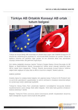 Türkiye AB Ortaklık Konseyi AB ortak tutum belgesi
