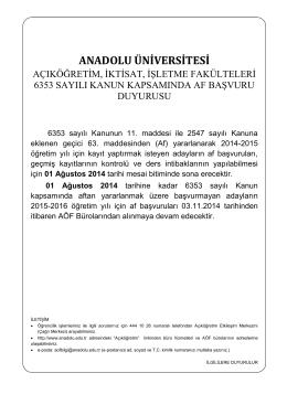 01 Ağustos 2014 - Anadolu Üniversitesi
