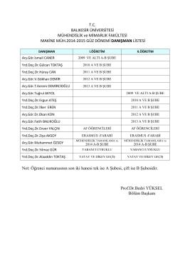 öğrenci danışman listesi 2014-2015 güz eğitim öğretim yarıyılı