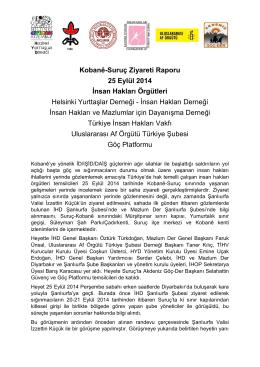 İnsan Hakları Savunucuları Suruç Ziyaret Raporu – 25 Eylül