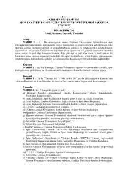 T.C. GİRESUN ÜNİVERSİTESİ SPOR FAALİYETLERİNİN