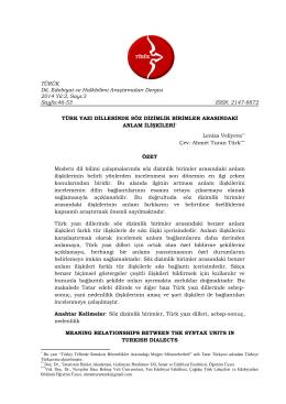 Türk Yazı Dillerinde Söz Dizimlik Birimler Arasındaki Anlam İlişkileri