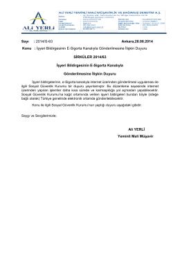 Sayı : 2014/S-63 Ankara,28.08.2014 Konu : İşyeri Bildirgesinin E