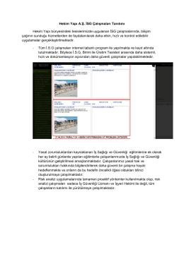 Hekim Yapı A.Ş. İSG Çalışmaları Tanıtımı Hekim Yapı bünyesindeki