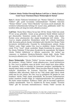 Çimkent Ahıska Türkleri Derneği Başkanı Latif Şen ve