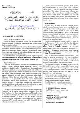 İLİ : BOLU TARİH:14/03/2014 Redaksiyon:İl İrşat Kurulu