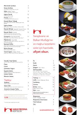 SARAYBOSNA Menü