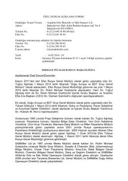 Üst Yönetimdeki Değişiklikler 14.03.2014