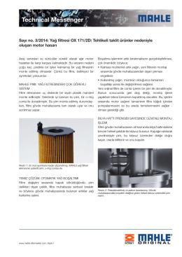 Sayı no. 03/2014: Yağ filtresi OX 171/2D