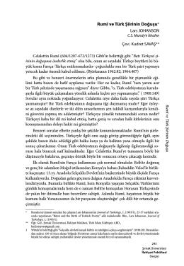 Rumî ve Türk Şiirinin Doğuşu*