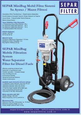 SEPAR MiniBug Mobil Filtre Sistemi Su Ayırıcı / Mazot Filtresi