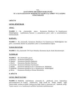 T.C. KASTAMONU BELEDİYE BAŞKANLIĞI SU ve KANALİZASYON