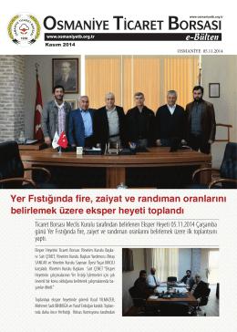 E-Bülten - Kasım/2014 - Osmaniye Ticaret Borsası