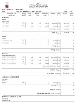 18.07.2014 günlük bülten - Karaman Ticaret Borsası