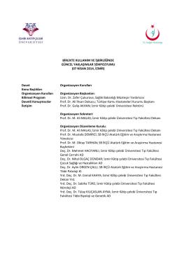 Davet Organizasyon Kurulları Organizasyon Başkanları