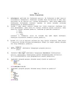 Ödev 4 Python Programlama 1. ortalama(n) şeklinde bir fonksiyon