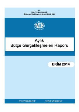 2014 Ekim Ayı Merkezi Yönetim Bütçe Gerçeklesmeleri Raporu