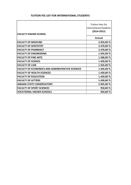 TUITION FEE LIST FOR INTERNATIONAL STUDENTS