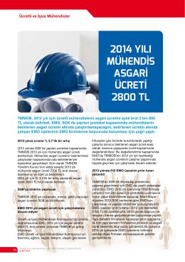 2014 Yılı müHendİs asGarİ ücretİ 2800 tl