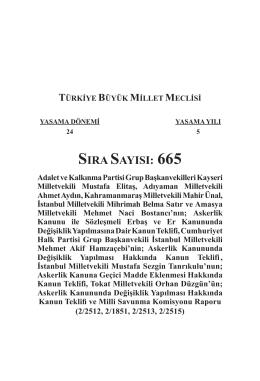 SIRA SAYISI: 665 - Türkiye Büyük Millet Meclisi