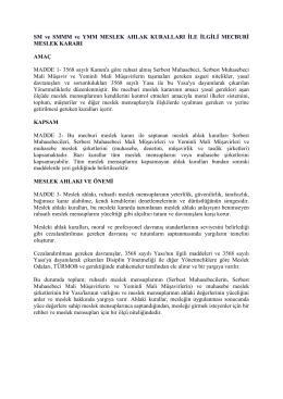 SM ve SMMM ve YMM MESLEK AHLAK KURALLARI İLE İLGİLİ