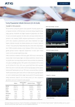 Yurtiçi Piyasalarda Haftalık Görünüm (22