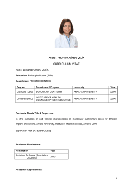 CURRICULUM VITAE - Bezmialem Vakif University Faculty of