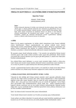 FREKANS KONTROLLU ASANSÖRLERDE ENERJİ EKONOMİSİ