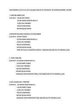 22-23 Eylül 2014 Çalışan Sağlığı ve Güvenliği Öz değerlendirme