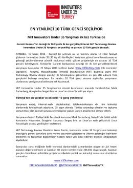 press release en yenilikçi 10 türk genci seçiliyor
