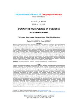 Türkçede Kavramsal Karmaşıklar: Düz-Eğretilemece