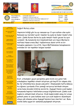 08 Temmuz 2014 Marmaris Rotary Kulübü Bülteni