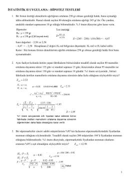 istatistik ıı uygulama : hipotez testleri