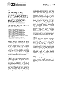 y-7 torasik cerrahilerde intraoperatif mekanik ventilasyon