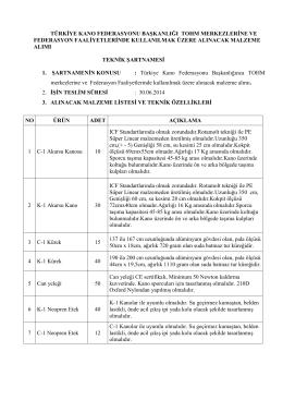 türkiye kano federasyonu başkanlığı tohm merkezlerine ve