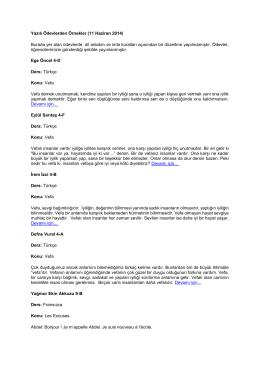 Yazılı Ödevlerden Örnekler (11 Haziran 2014