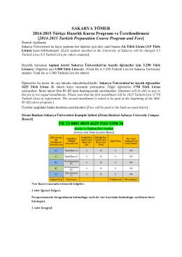 2014-2015 Kayıt ve Ücretlendirme/Registration